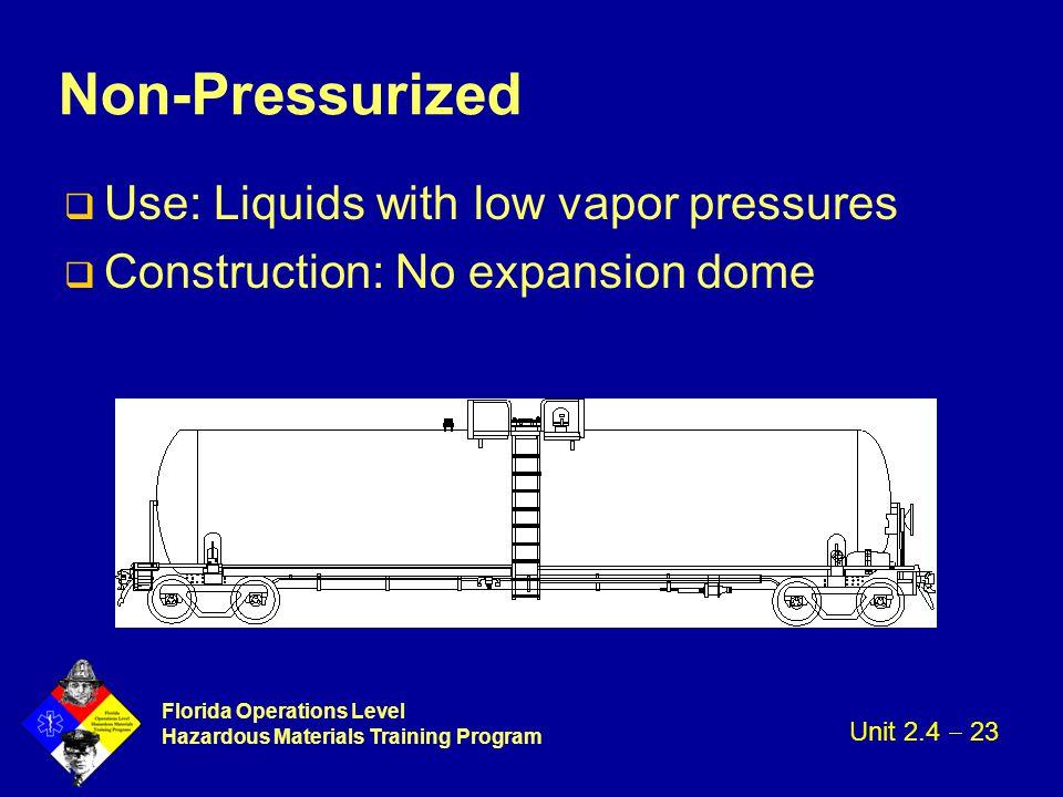 Florida Operations Level Hazardous Materials Training Program Non-Pressurized q Use: Liquids with low vapor pressures q Construction: No expansion dom