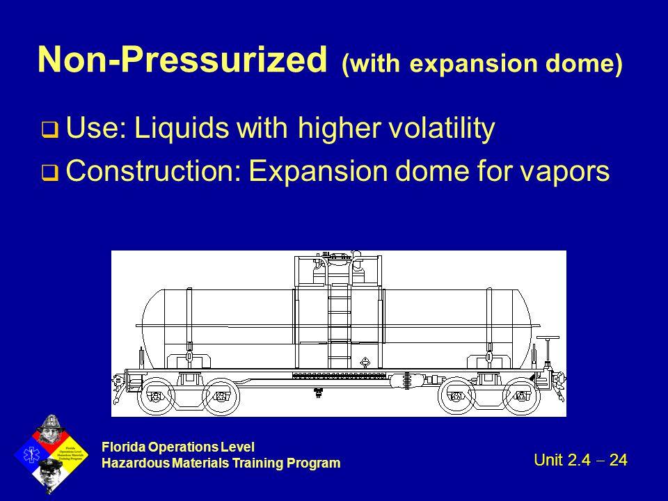 Florida Operations Level Hazardous Materials Training Program Non-Pressurized (with expansion dome) q Use: Liquids with higher volatility q Constructi