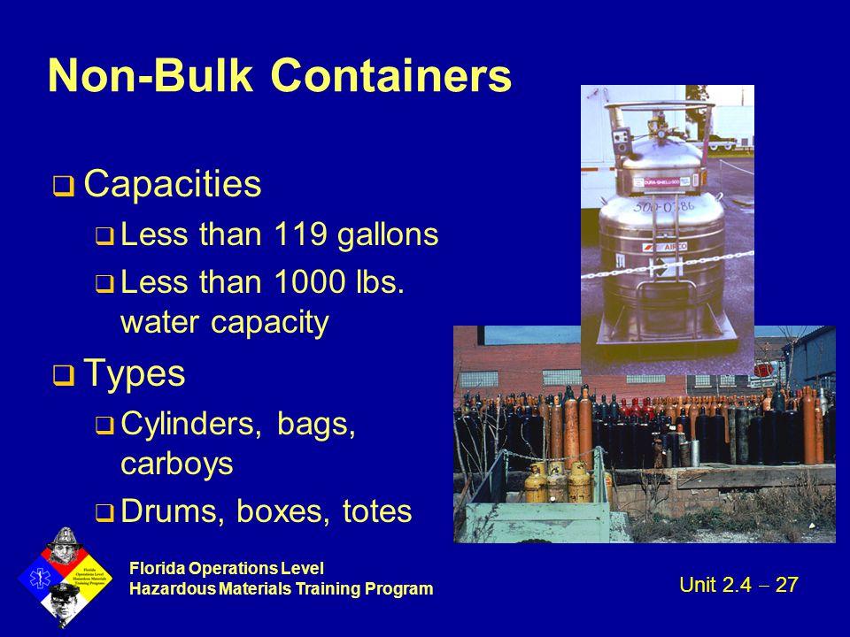 Florida Operations Level Hazardous Materials Training Program Non-Bulk Containers q Capacities q Less than 119 gallons q Less than 1000 lbs. water cap