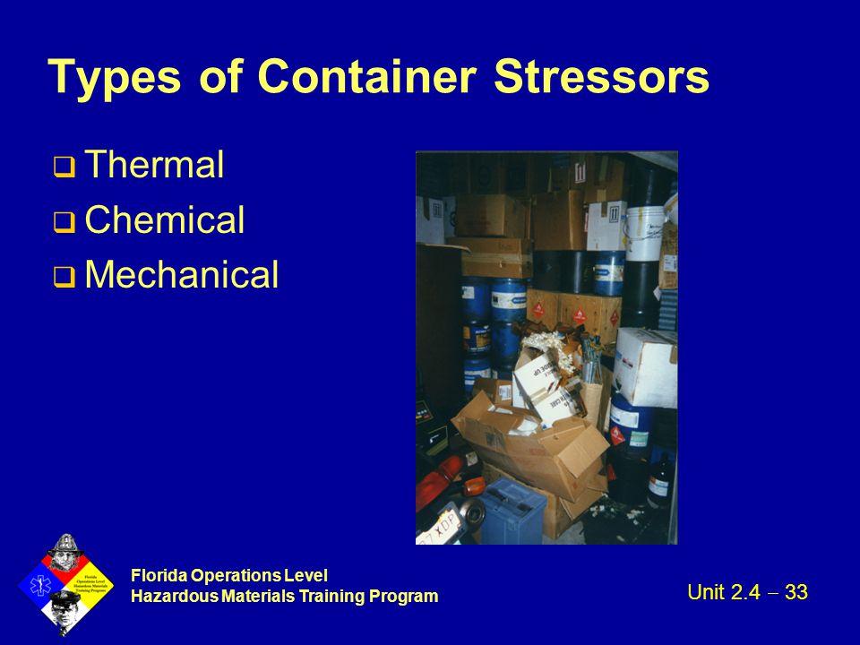 Florida Operations Level Hazardous Materials Training Program Types of Container Stressors q Thermal q Chemical q Mechanical Unit 2.4  33