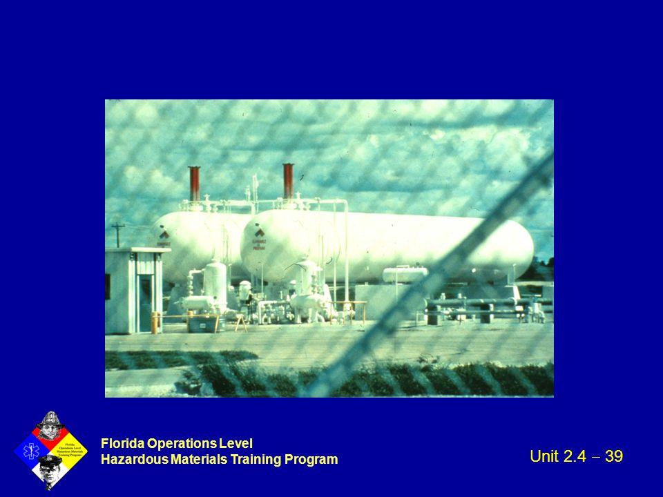 Florida Operations Level Hazardous Materials Training Program Unit 2.4  39