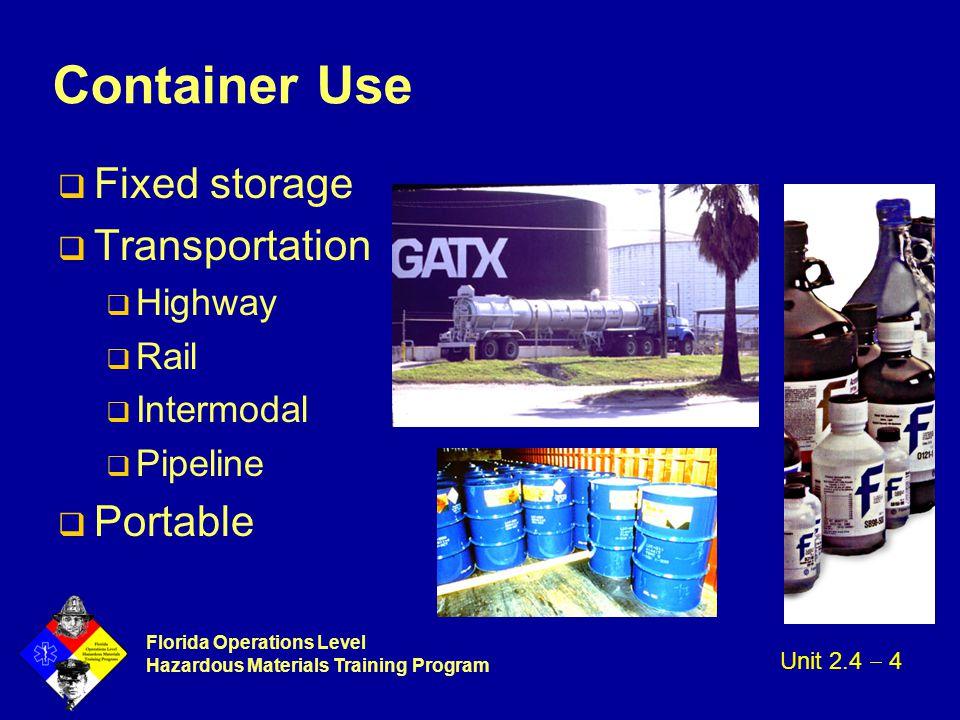 Florida Operations Level Hazardous Materials Training Program Container Use q Fixed storage q Transportation q Highway q Rail q Intermodal q Pipeline