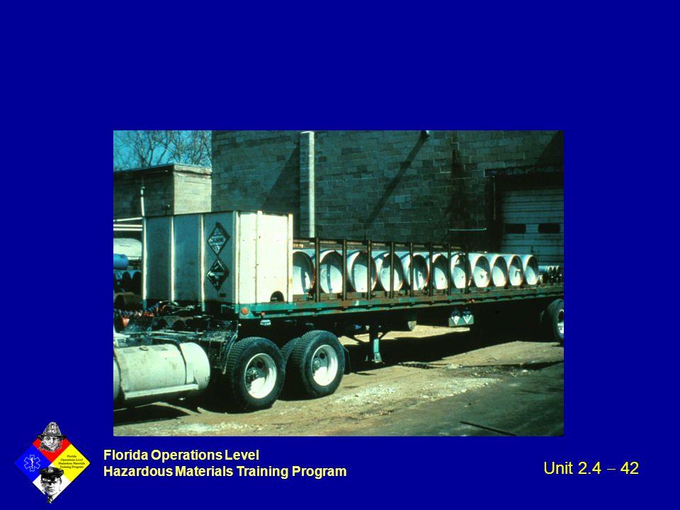 Florida Operations Level Hazardous Materials Training Program Unit 2.4  42