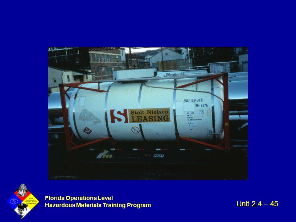 Florida Operations Level Hazardous Materials Training Program Unit 2.4  45