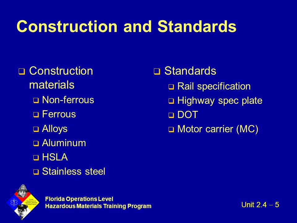 Florida Operations Level Hazardous Materials Training Program Construction and Standards q Construction materials q Non-ferrous q Ferrous q Alloys q A