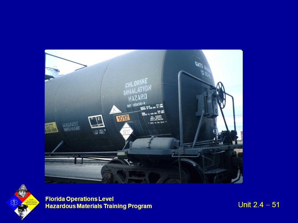 Florida Operations Level Hazardous Materials Training Program Unit 2.4  51