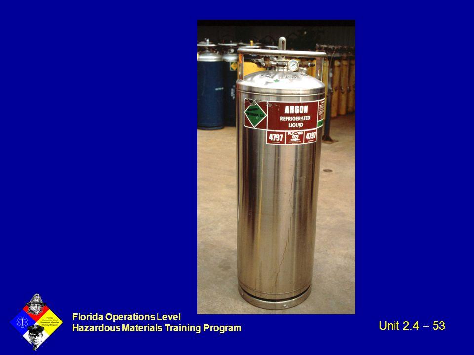 Florida Operations Level Hazardous Materials Training Program Unit 2.4  53