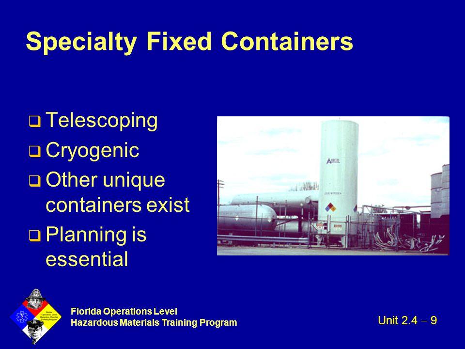 Florida Operations Level Hazardous Materials Training Program Specialty Fixed Containers q Telescoping q Cryogenic q Other unique containers exist q P