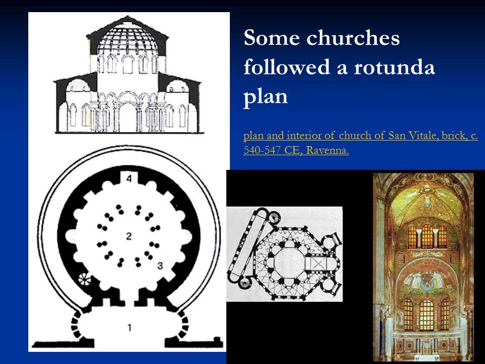 plan and interior of church of San Vitale, brick, c. 540-547 CE, Ravenna. Some churches followed a rotunda plan