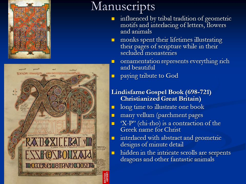 Manuscripts influenced by tribal tradition of geometric motifs and interlacing of letters, flowers and animals influenced by tribal tradition of geome