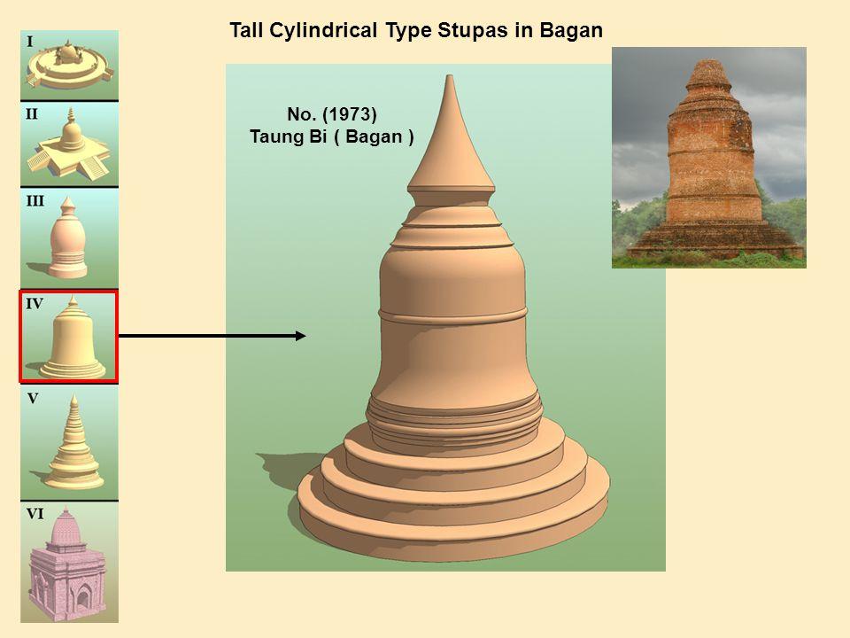 No. (1973) Taung Bi ( Bagan ) Tall Cylindrical Type Stupas in Bagan