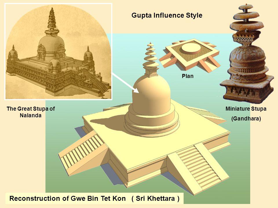 Reconstruction of Gwe Bin Tet Kon ( Sri Khettara ) Miniature Stupa (Gandhara) The Great Stupa of Nalanda Gupta Influence Style Plan