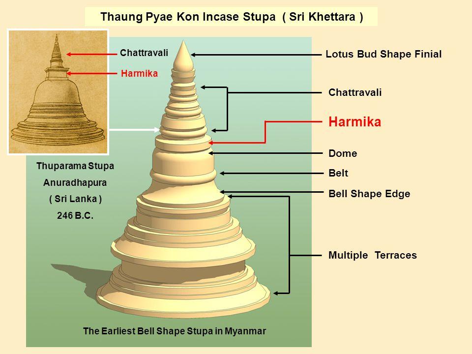 Lotus Bud Shape Finial Chattravali Harmika Dome Belt Bell Shape Edge Multiple Terraces Thaung Pyae Kon Incase Stupa ( Sri Khettara ) Thuparama Stupa Anuradhapura ( Sri Lanka ) 246 B.C.