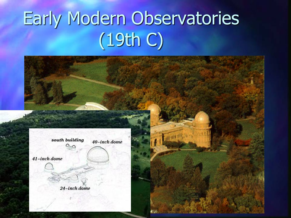 Early Modern Observatories (19th C) n More remote locations (outside cities) n Still show integration of observing structure, teaching space and research space n e.g.