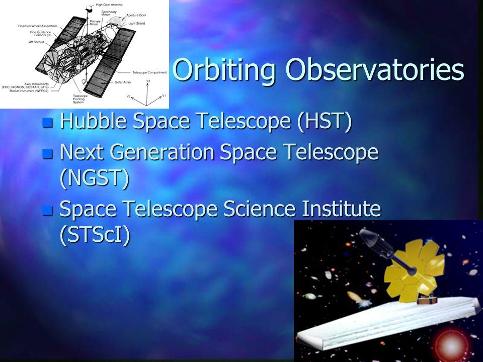 Orbiting Observatories n Hubble Space Telescope (HST) n Next Generation Space Telescope (NGST) n Space Telescope Science Institute (STScI)