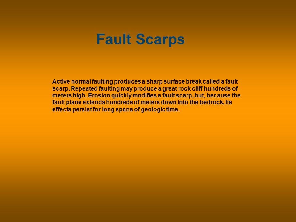 Fault Scarps Active normal faulting produces a sharp surface break called a fault scarp.