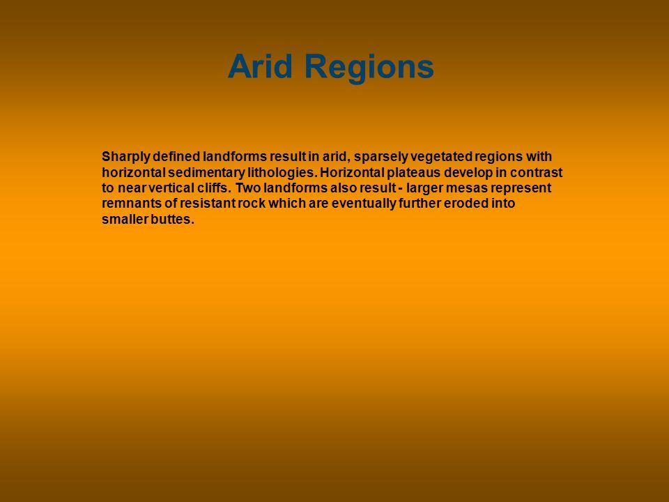 Arid Regions In arid climates, distinctive erosional landforms develop in horizontal strata