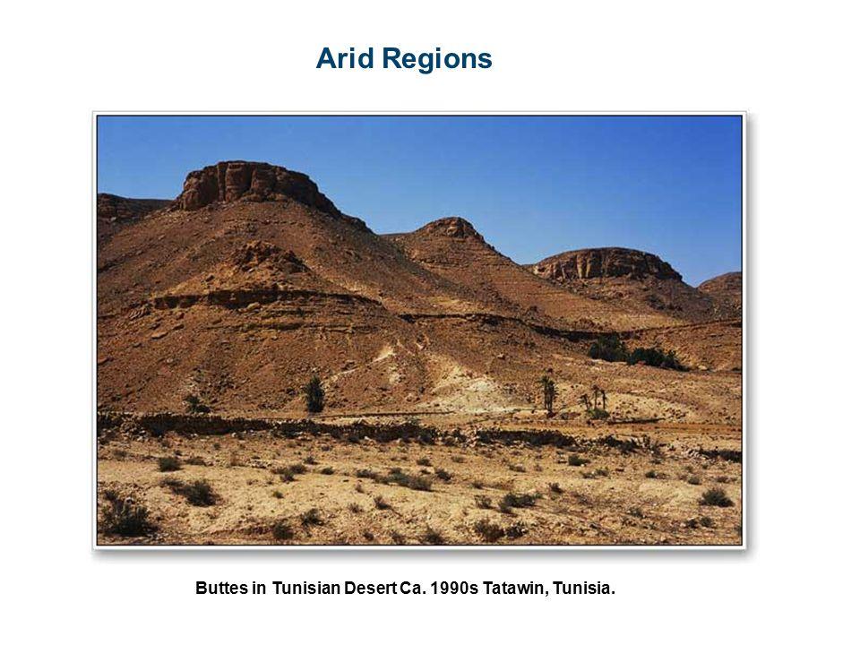 Arid Regions Buttes in Tunisian Desert Ca. 1990s Tatawin, Tunisia.