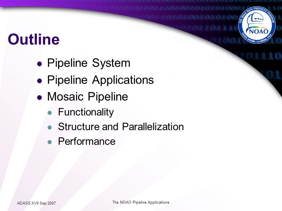 ADASS XVII Sep 2007 The NOAO Pipeline Applications Pipeline System (E2E) Data Source Pipeline Framework Pipeline Applications Data Sink