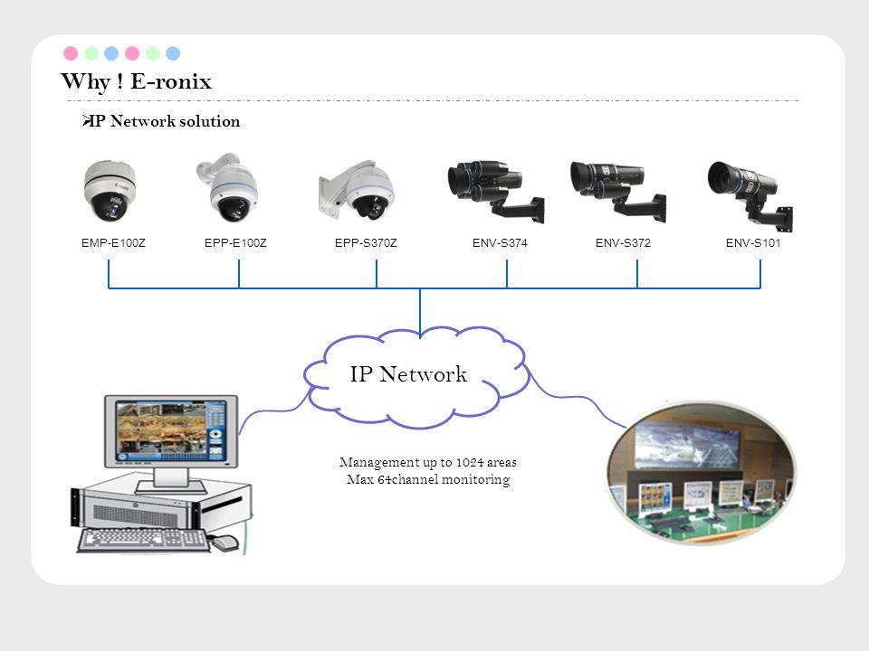 Why ! E-ronix  IP Network solution EMP-E100ZEPP-E100ZEPP-S370ZENV-S374ENV-S372ENV-S101 IP Network Management up to 1024 areas Max 64channel monitorin