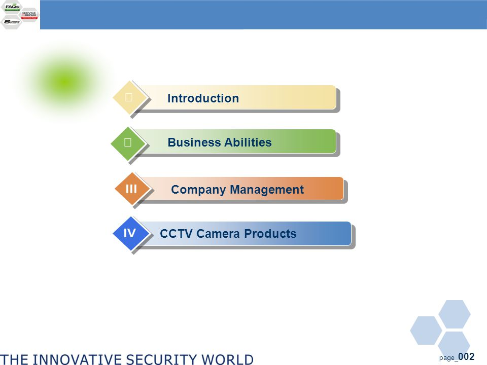 page_ 002 Company Management III CCTV Camera Products IV Introduction Ⅰ Business Abilities Ⅱ