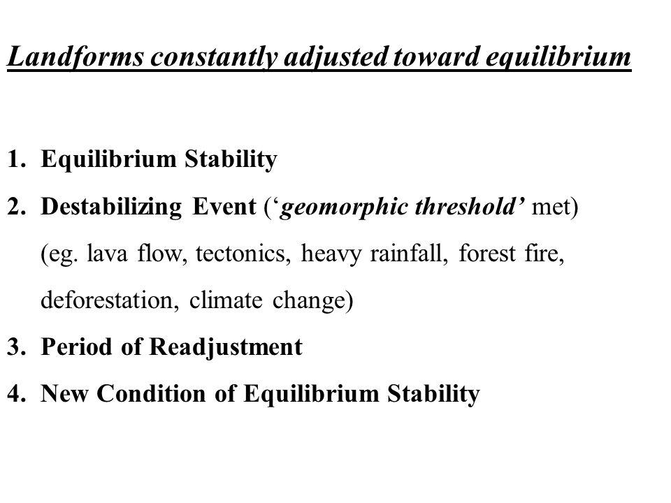 Landforms constantly adjusted toward equilibrium 1.Equilibrium Stability 2.Destabilizing Event ('geomorphic threshold' met) (eg.