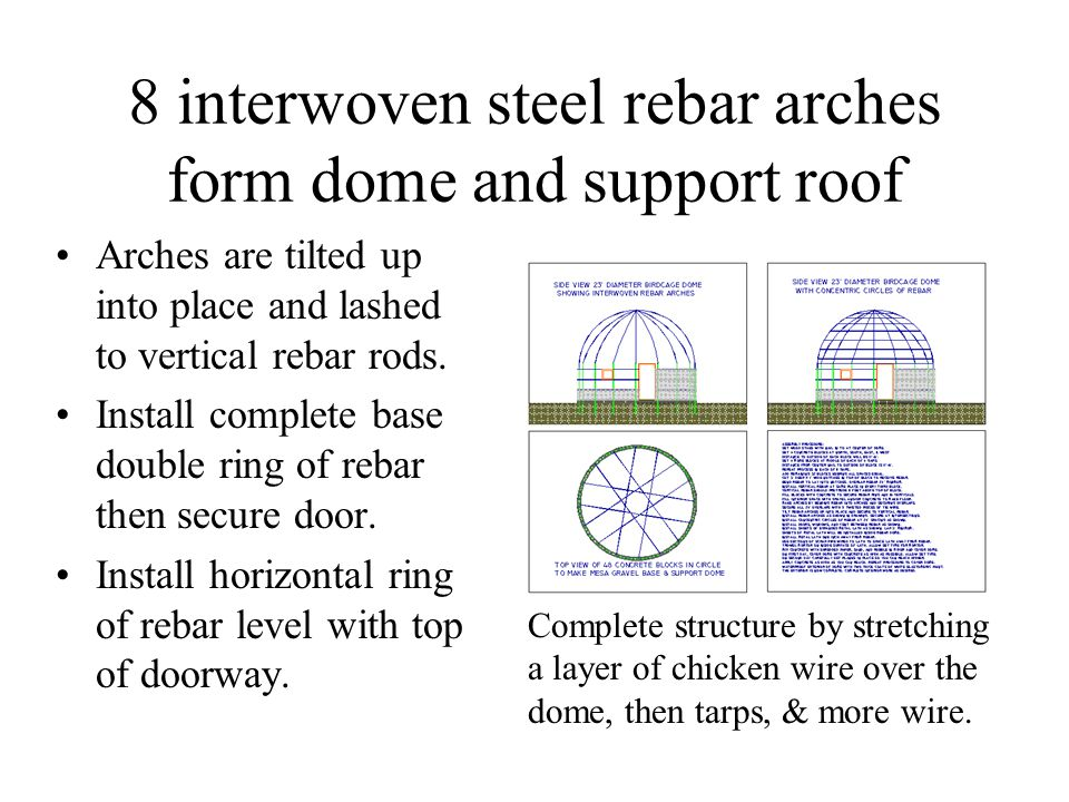 8 interwoven steel rebar arches form dome and support roof Arches are tilted up into place and lashed to vertical rebar rods. Install complete base do