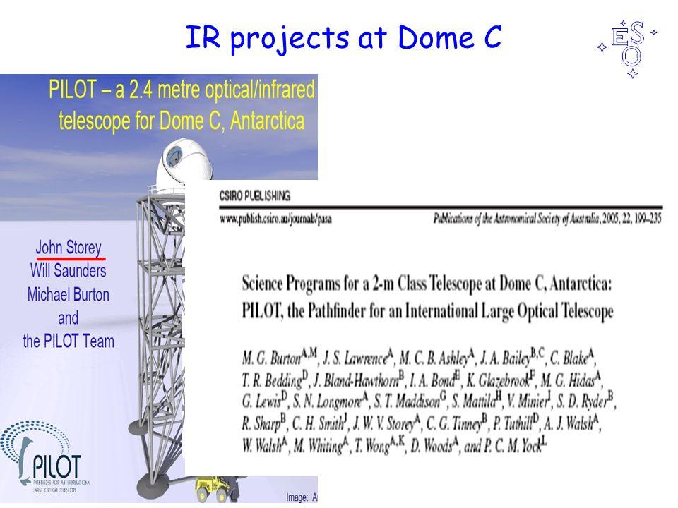Ralf Siebenmorgen IR instrument from Antarctica MIR instrument at Dome C 10σ/1h K 2µJy L 80µJy M 200µJy N 8mJy Q 200mJy Burton et al '05 N band: pfov 0.5 ; 1kx1k detector Mora et al.