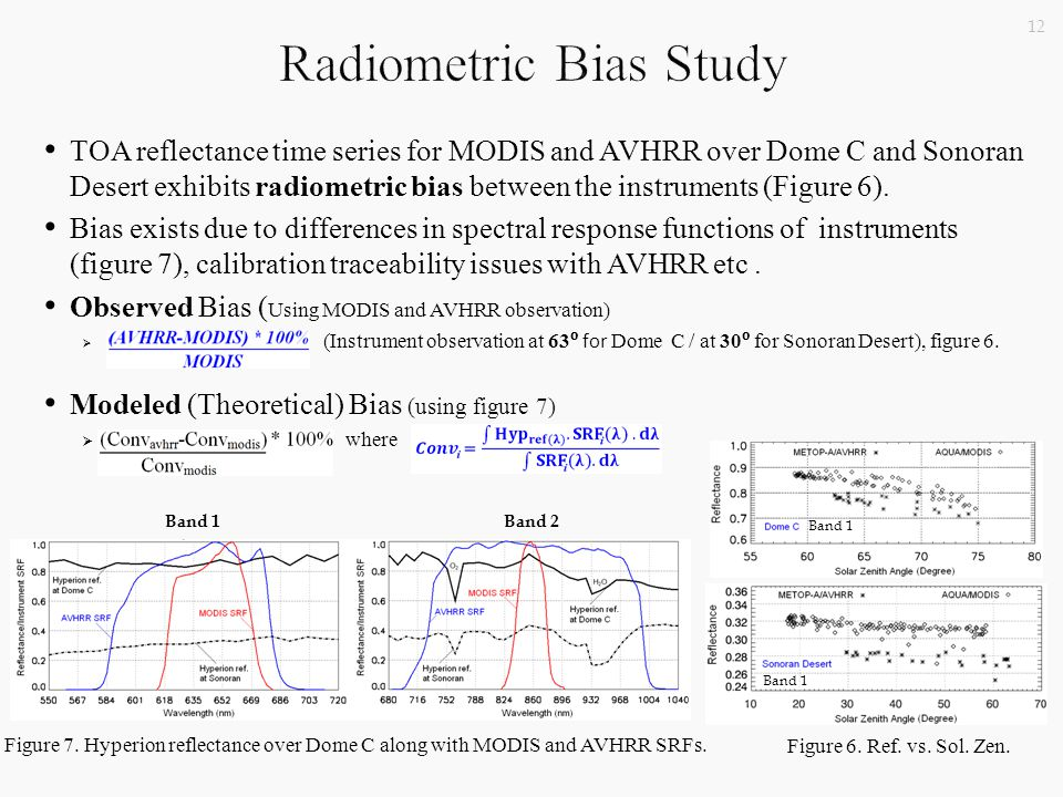 TOA reflectance time series for MODIS and AVHRR over Dome C and Sonoran Desert exhibits radiometric bias between the instruments (Figure 6).