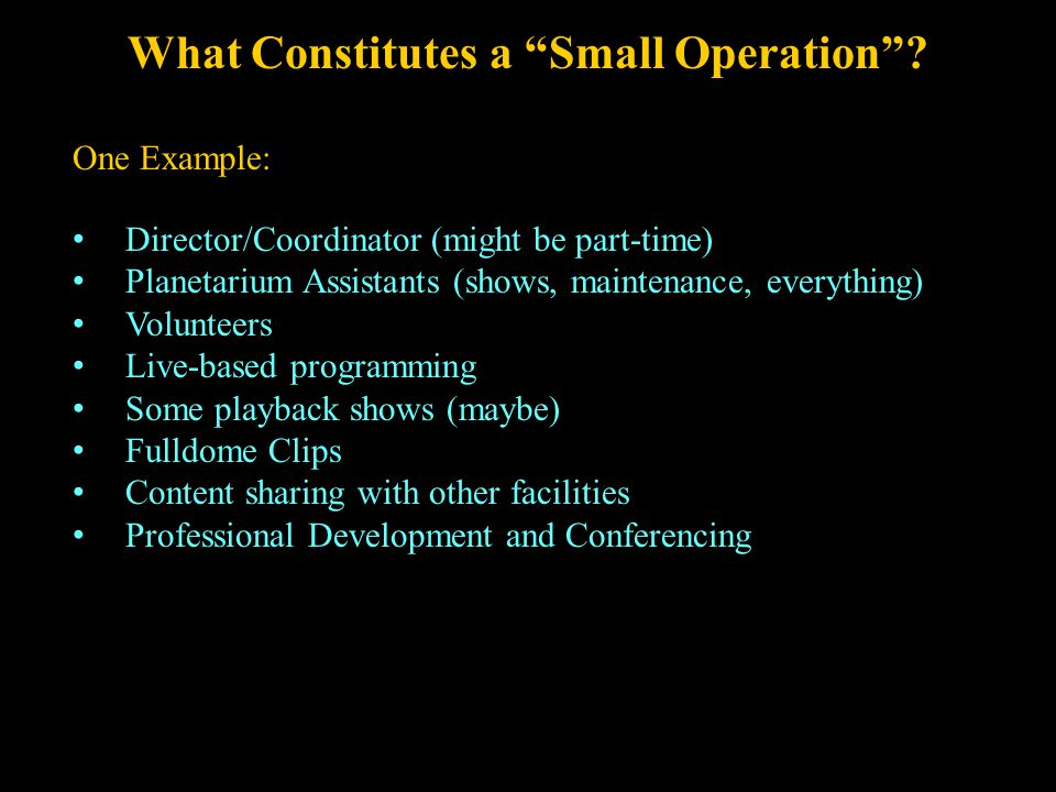 What Constitutes a Small Operation .