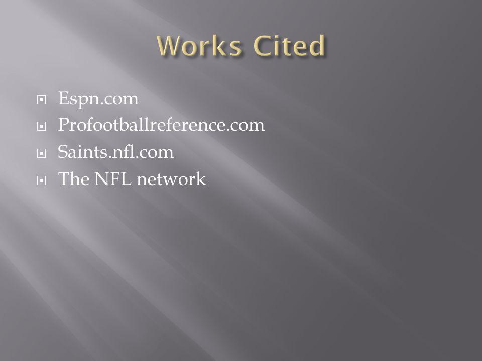  Espn.com  Profootballreference.com  Saints.nfl.com  The NFL network