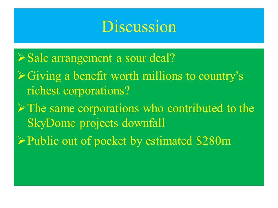 Discussion  Sale arrangement a sour deal.