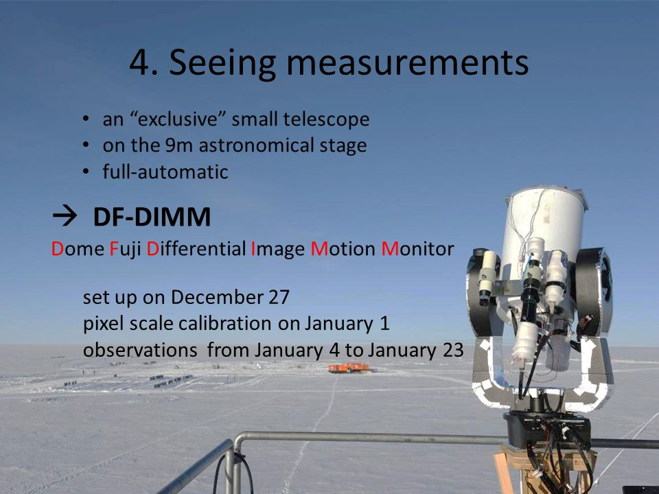 "4. Seeing measurements an ""exclusive"" small telescope on the 9m astronomical stage full-automatic  DF-DIMM Dome Fuji Differential Image Motion Monito"