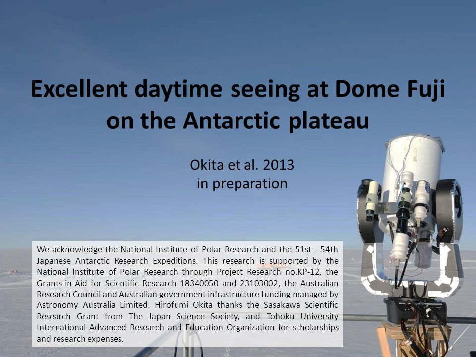 Excellent daytime seeing at Dome Fuji on the Antarctic plateau Okita et al.