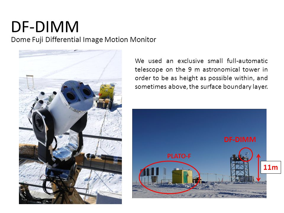 DF-DIMM Dome Fuji Differential Image Motion Monitor 11m PLATO-F DF-DIMM We used an exclusive small full-automatic telescope on the 9 m astronomical tower in order to be as height as possible within, and sometimes above, the surface boundary layer.