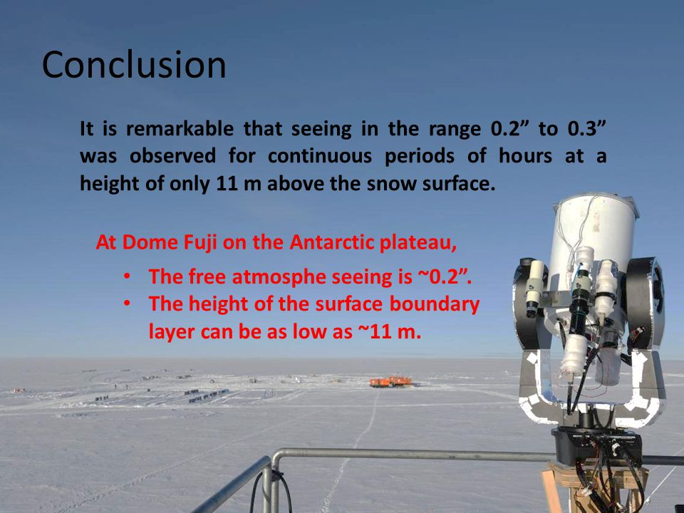 Conclusion The free atmosphe seeing is ~0.2 .