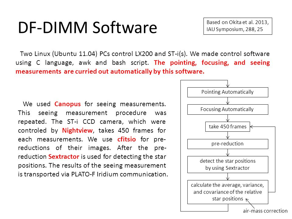 DF-DIMM Software Two Linux (Ubuntu 11.04) PCs control LX200 and ST-i(s).