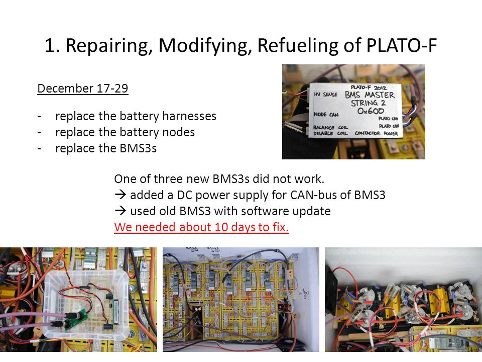 1. Repairing, Modifying, Refueling of PLATO-F December 17-29 -replace the battery harnesses -replace the battery nodes -replace the BMS3s One of three