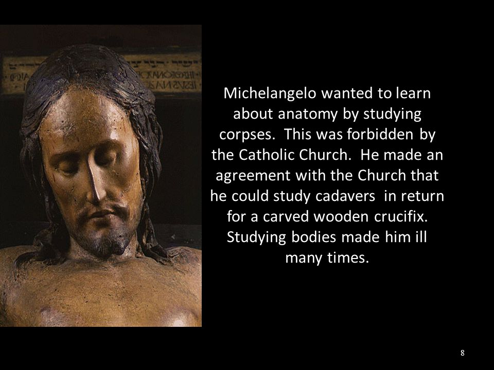 Michelangelo wanted to learn about anatomy by studying corpses.