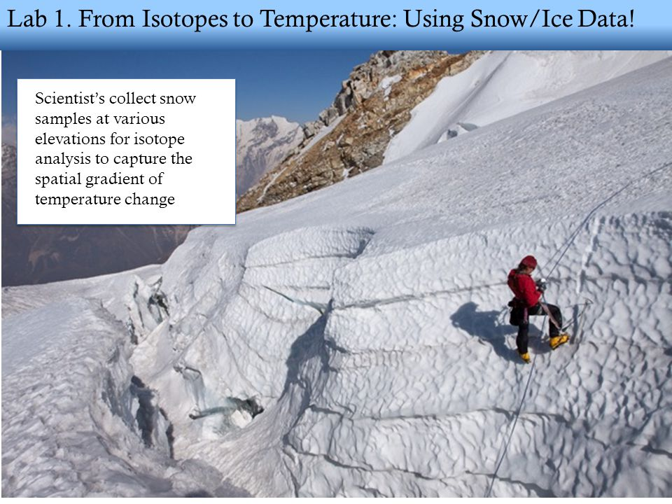 Lab 1. From Isotopes to Temperature: Using Snow/Ice Data.