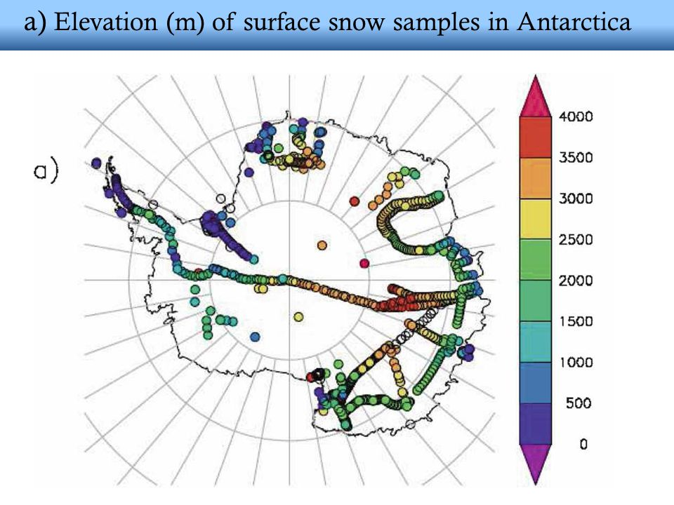 a) Elevation (m) of surface snow samples in Antarctica