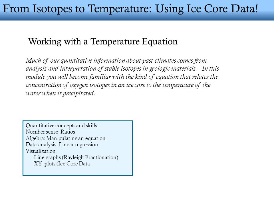 From Isotopes to Temperature: Using Ice Core Data.