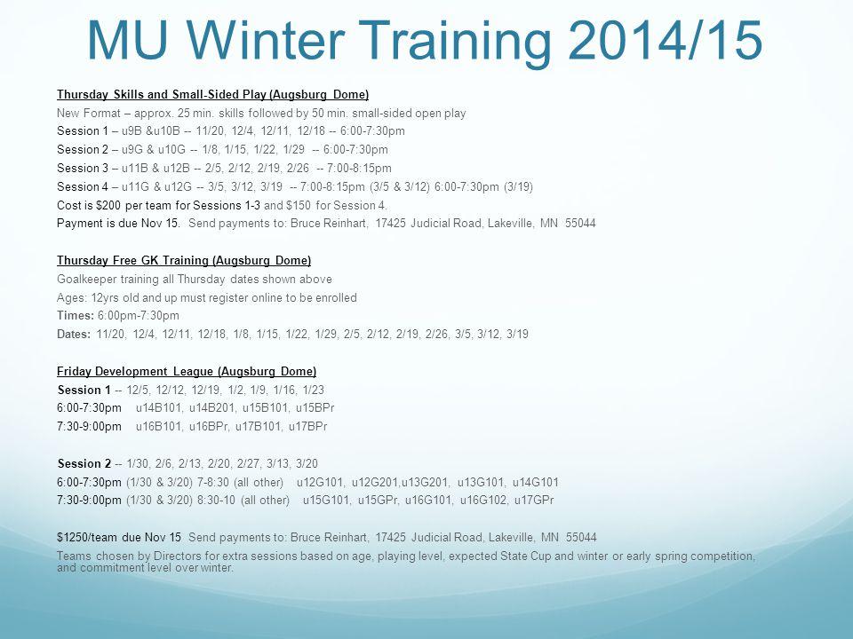 MU Winter Training 2014/15 Futsal (Lake St.