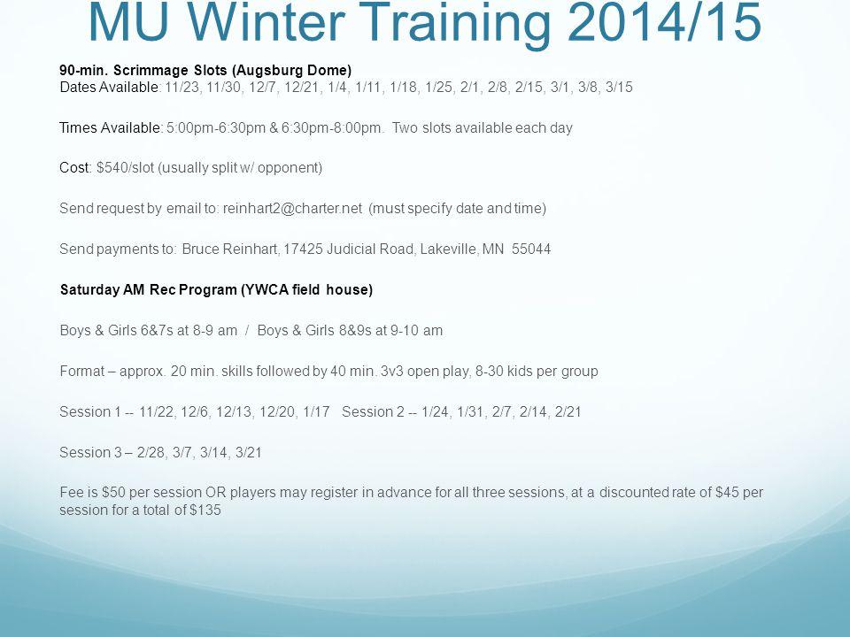 MU Winter Training 2014/15 90-min.