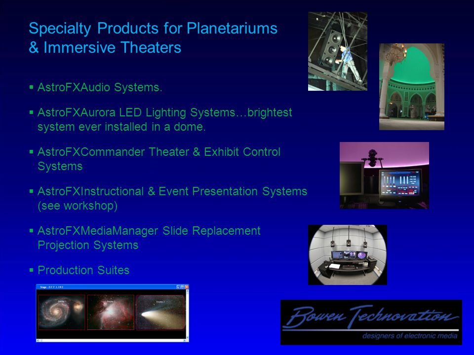 Specialty Products for Planetariums & Immersive Theaters  AstroFXAudio Systems.