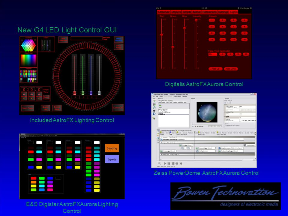 AstroFXCommander Systems  Direct control interfaces to and/or from Digistar, Digitalis, Zeiss, Goto  You can add/delete control buttons, text, passwords, etc…no compiling needed.