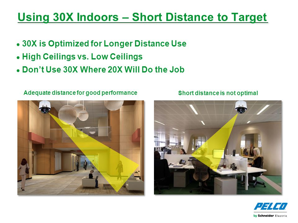 Using 30X Indoors – Short Distance to Target ● 30X is Optimized for Longer Distance Use ● High Ceilings vs.