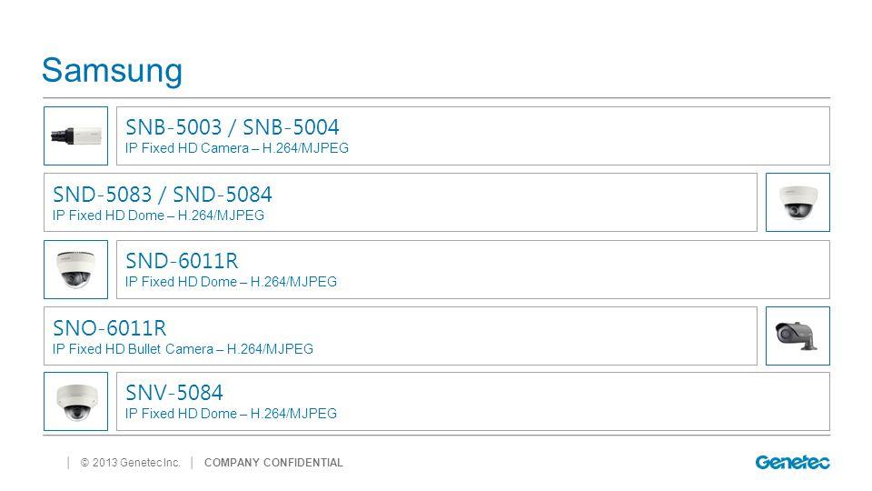 │ © 2013 Genetec Inc. Samsung │ COMPANY CONFIDENTIAL SNB-5003 / SNB-5004 IP Fixed HD Camera – H.264/MJPEG SND-5083 / SND-5084 IP Fixed HD Dome – H.264