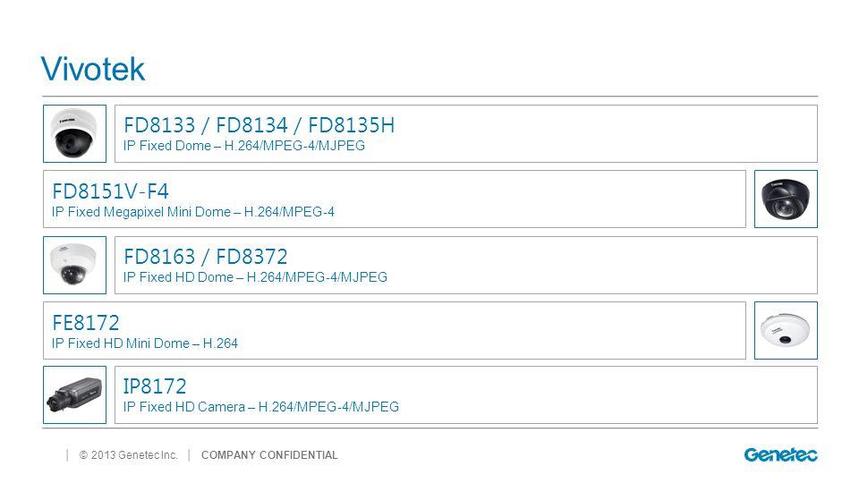 │ © 2013 Genetec Inc. Vivotek │ COMPANY CONFIDENTIAL FD8133 / FD8134 / FD8135H IP Fixed Dome – H.264/MPEG-4/MJPEG FD8151V-F4 IP Fixed Megapixel Mini D