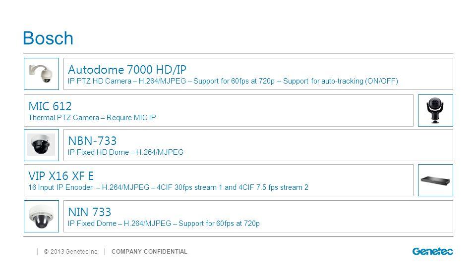 │ © 2013 Genetec Inc. Bosch │ COMPANY CONFIDENTIAL NBN-733 IP Fixed HD Dome – H.264/MJPEG Autodome 7000 HD/IP IP PTZ HD Camera – H.264/MJPEG – Support